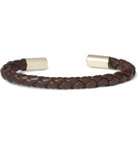 Burberry Shoes & Accessories Woven-Leather and Metallic Bracelet