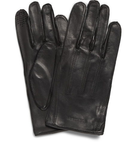 Burberry Shoes & Accessories Touch Screen Leather Gloves