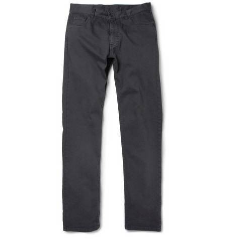 Canali Washed Cotton-Blend Twill Trousers
