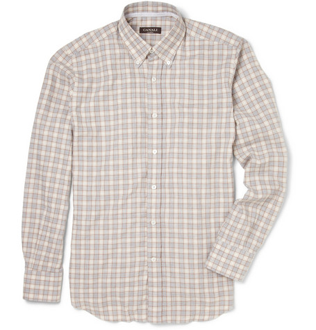 Canali Check Brushed-Cotton Shirt