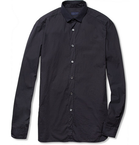 Lanvin Slim-Fit Contrast-Collar Washed-Cotton Shirt