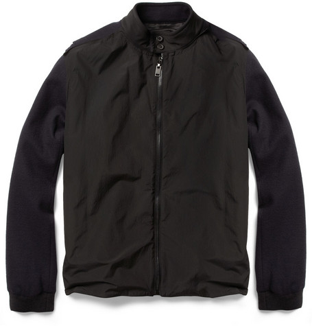 Lanvin Wool-Blend and Crepe Bomber Jacket