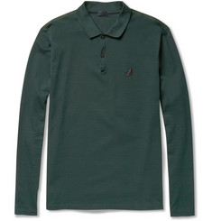 Lanvin Long-Sleeved Cotton-Piqué Polo Shirt