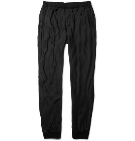 Lanvin Silk-Chiffon and Cotton-Blend Sweatpants