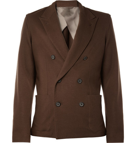Lanvin Unstructured Double-Breasted Wool Blazer