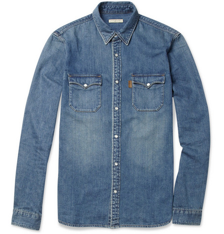 Burberry Brit Slim-Fit Washed-Denim Shirt