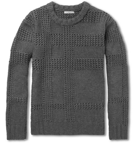 Burberry Brit Chunky-Knit Check Merino Wool Sweater