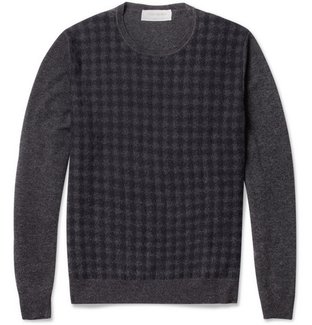 Yves Saint Laurent Houndstooth Wool and Cashmere-Blend Sweater