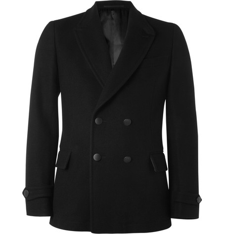 Yves Saint Laurent Slim-Fit Leather-Trimmed Wool Peacoat