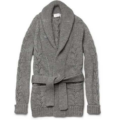 Yves Saint Laurent Long Chunky-Knit Wool-Blend Cardigan