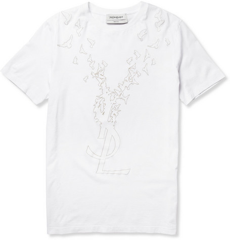 Yves Saint Laurent Velvet-Appliquéd Cotton T-Shirt