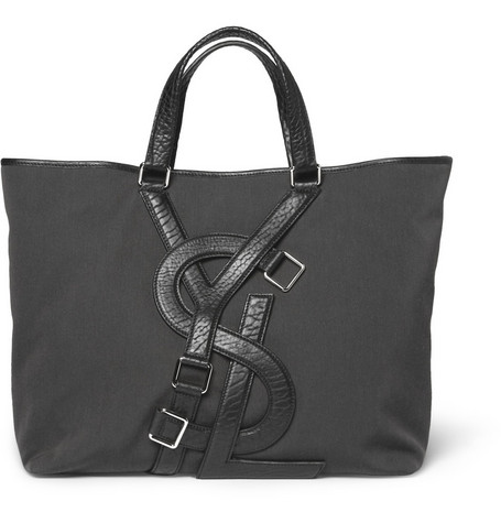 Yves Saint Laurent Logo-Strap Canvas and Leather Tote Bag