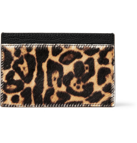 Yves Saint Laurent Leopard-Print Pony Card Holder