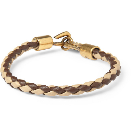 Yves Saint Laurent Woven-Leather Bracelet