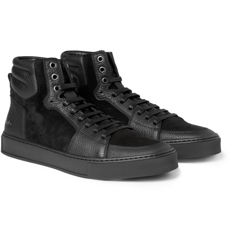 Yves Saint Laurent Suede and Leather-Panelled High Top Sneakers