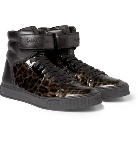 Yves Saint Laurent Leopard-Print Patent-Leather High Top Sneakers