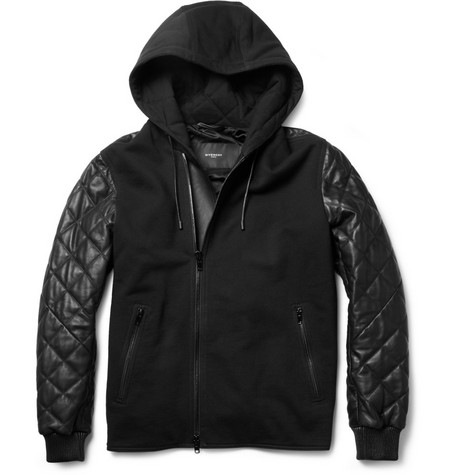 Givenchy Contrast-Front Quilted Leather Bomber Jacket