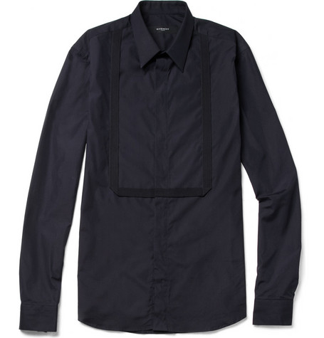 Givenchy Slim-Fit Grosgrain-Bib Cotton Shirt
