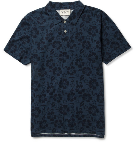 YMC Hibiscus-Print Cotton Polo Shirt