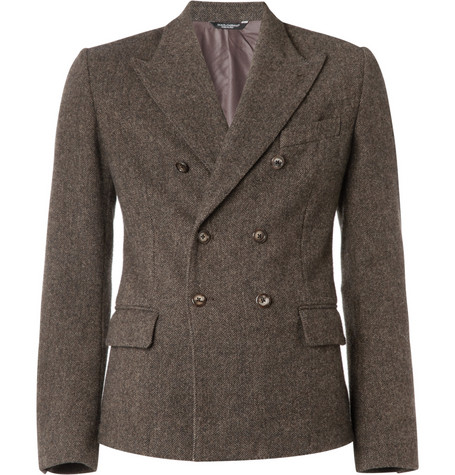 Dolce & Gabbana Double-Breasted Wool-Tweed Blazer