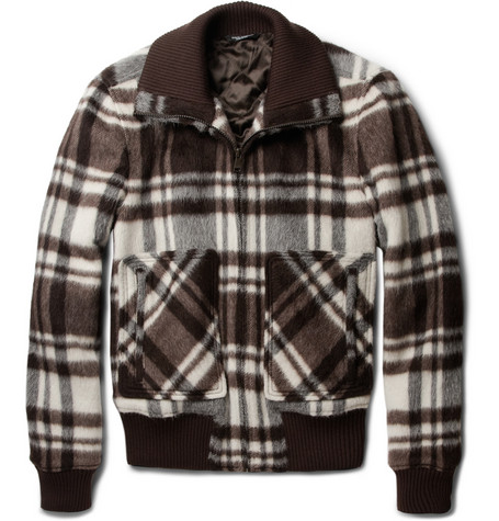 Dolce & Gabbana Plaid Wool-Blend Bomber Jacket