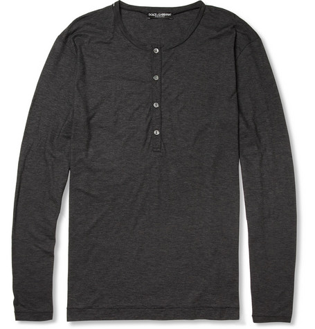 Dolce & Gabbana Long-Sleeved Cotton Henley T-Shirt