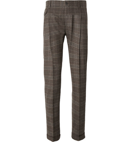 Dolce & Gabbana Pleated Plaid Wool Trousers