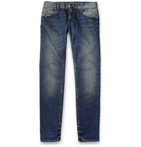 Dolce & Gabbana Gold-Fit Slim-Cut Washed-Denim Jeans