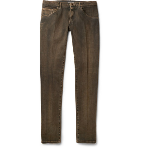 Dolce & Gabbana Gold-Fit Slim-Fit Washed-Denim Jeans