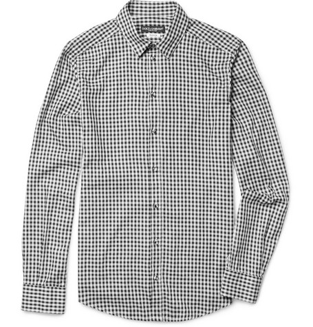 Dolce & Gabbana Gold-Fit Gingham Check Cotton Shirt