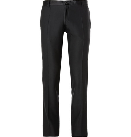 Dolce & Gabbana Black Martini Wool and Silk-Blend Tuxedo Trousers
