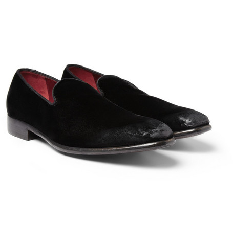 Dolce & Gabbana Burnished Velvet Slippers