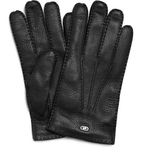 Gucci Classic Cashmere-Lined Leather Gloves