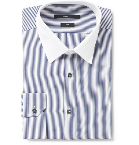 Gucci Slim Fit Contrast Collar Striped Shirt
