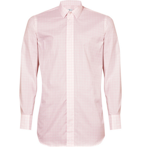 Alfred Dunhill Pink Narrow-Plaid Shirt