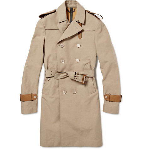 Burberry Prorsum Trench Coat With Leather Trim