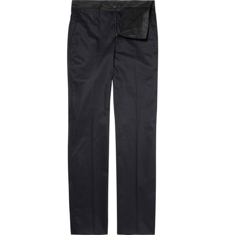 Lanvin Cotton Trousers with Grosgrain Waist