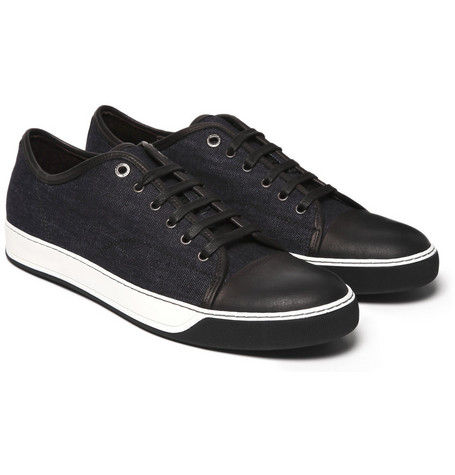Lanvin Denim and Leather Sneakers