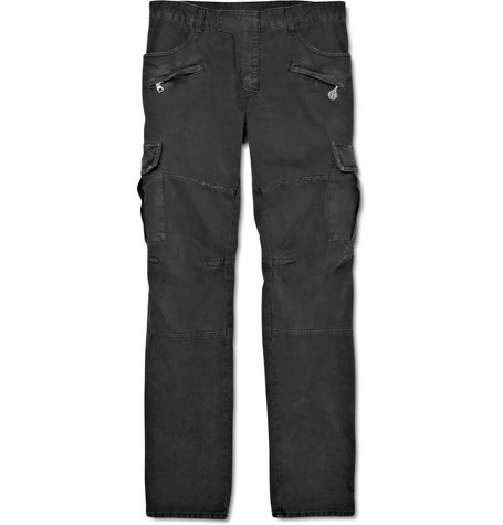 Balmain Cotton-Blend Distressed Cargo Trousers