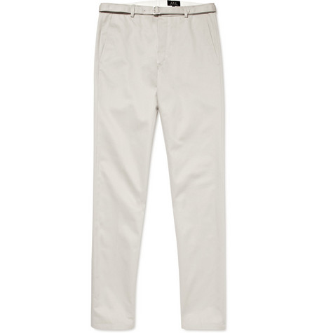 A.P.C. Cotton Straight Leg Belted Chinos