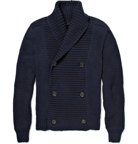 Maison Martin Margiela Chunky Knit Cotton Double-Breasted Cardigan