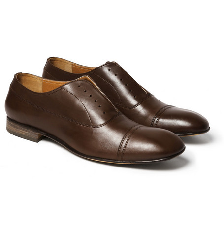 Maison Martin Margiela Brushed-Effect Leather Oxfords