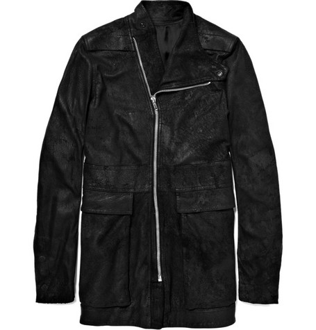 Rick Owens Long Distressed Leather Jacket