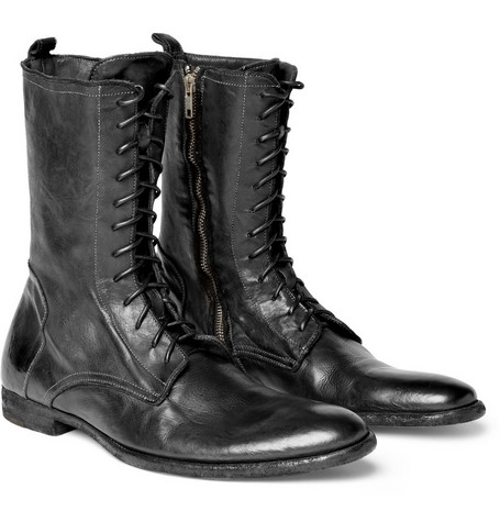 Alexander McQueen Lace-Up Leather Biker Boots