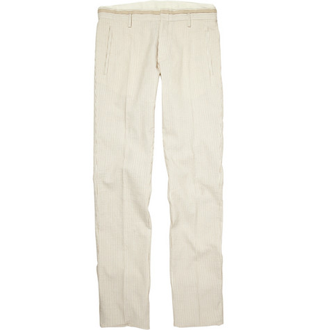 Viktor & Rolf Striped Cotton and Linen-Blend Trousers