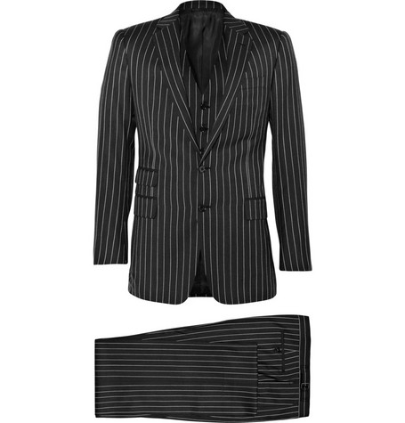 Ralph Lauren Purple Label Drake Wool Three Piece Pinstripe Suit
