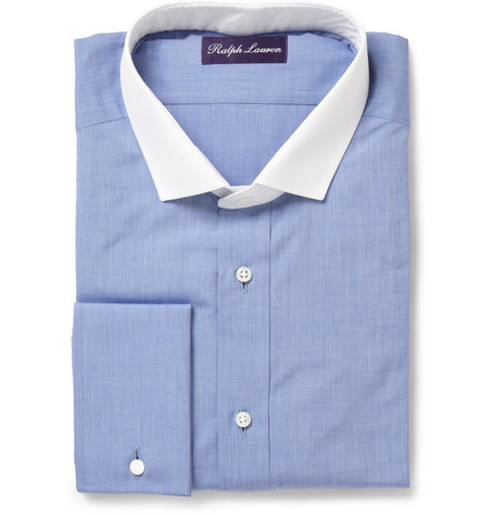 Ralph Lauren Purple Label Cotton Shirt With Contrasting Collar