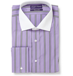 Ralph Lauren Purple Label Striped Shirt with Contrast Collar