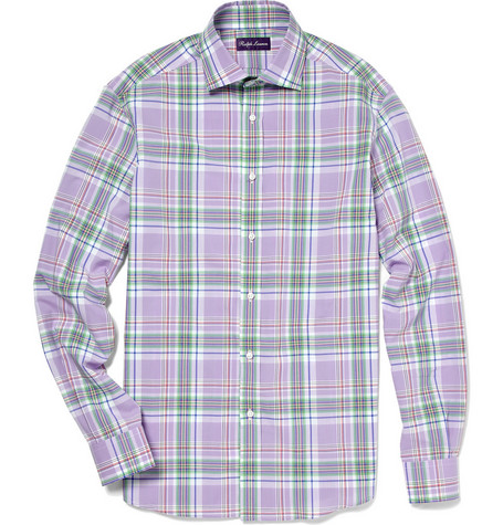 Ralph Lauren Purple Label Plaid Cotton Aston Sports Shirt