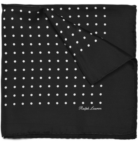 Ralph Lauren Purple Label Silk Polka Dot Handkerchief